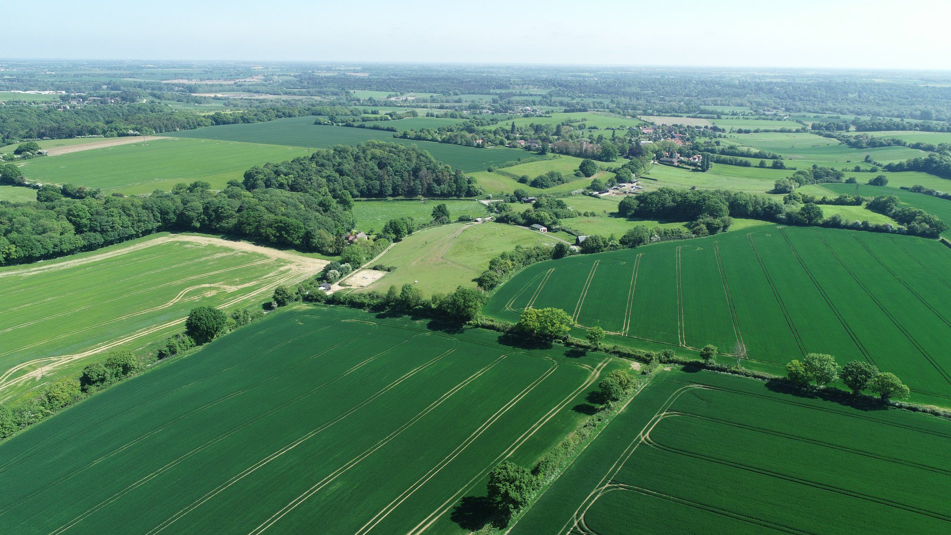 Aerial photograph of fields in Baylham, Suffolk